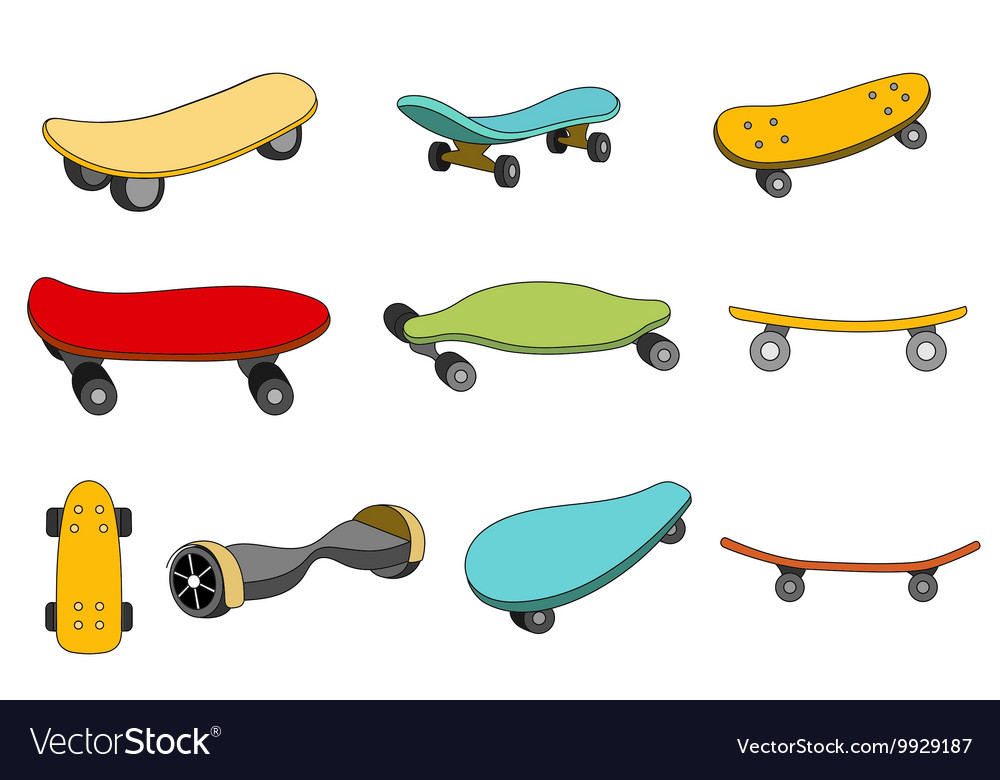 49a1fc12 Set of colorful skateboards Royalty Free Vector Image