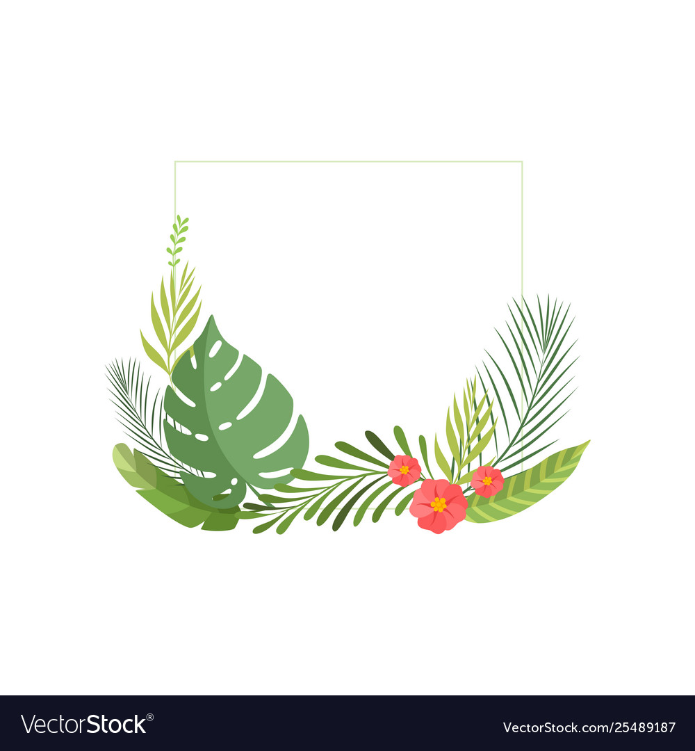 Summer tropical leaves and flowers banner poster