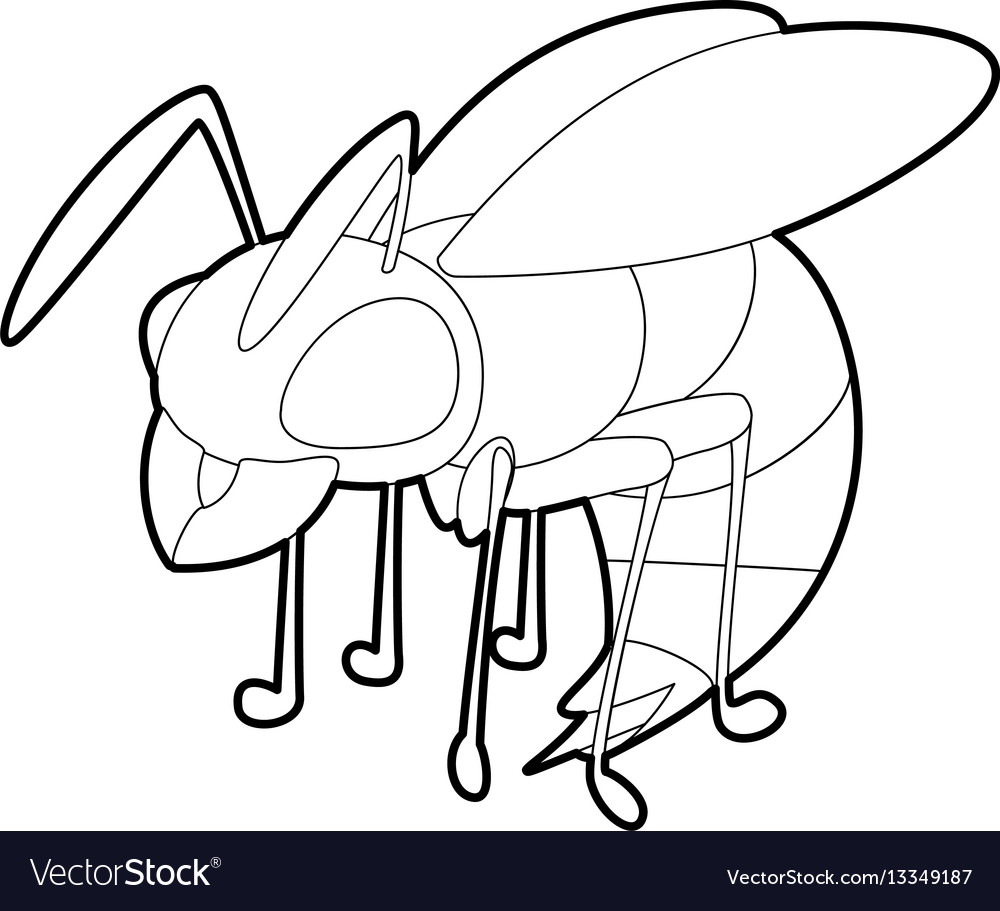 wasp icon outline style royalty free vector image