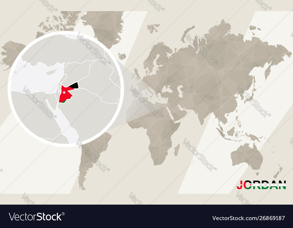 Zoom on jordan map and flag world map