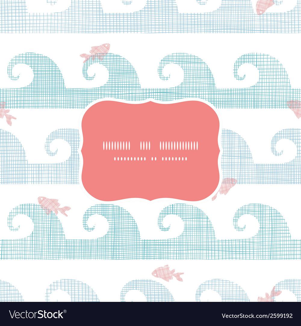 Abstract textile fish among waves frame seamless
