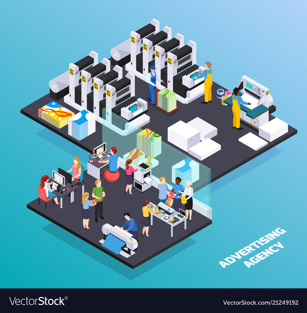 Advertising agency isometric composition