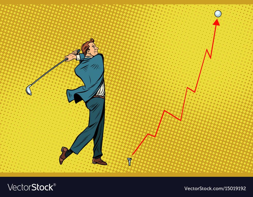 Businessman golf shot profit graph