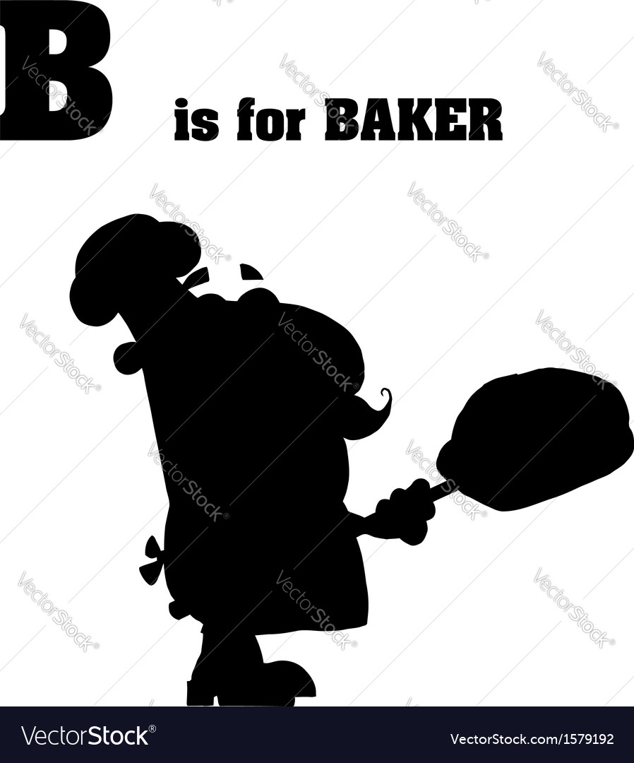 Cartoon baker silhouette vector image