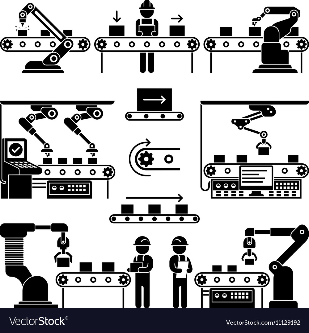 Conveyor production manufacturing line and workers vector image