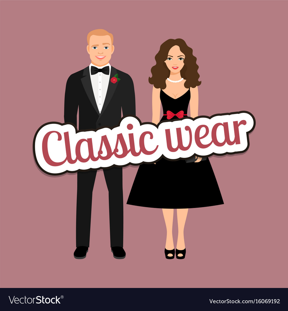 Couple in black dress and tux