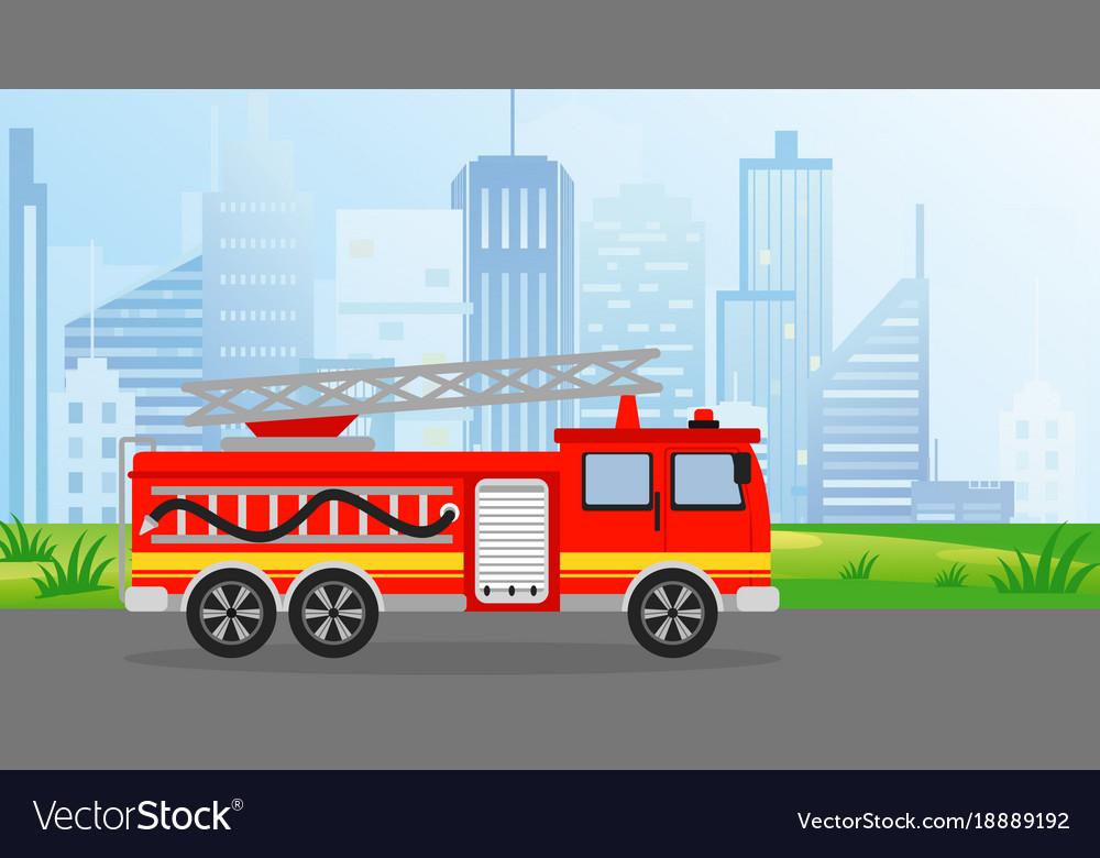 Fire truck in flat style on