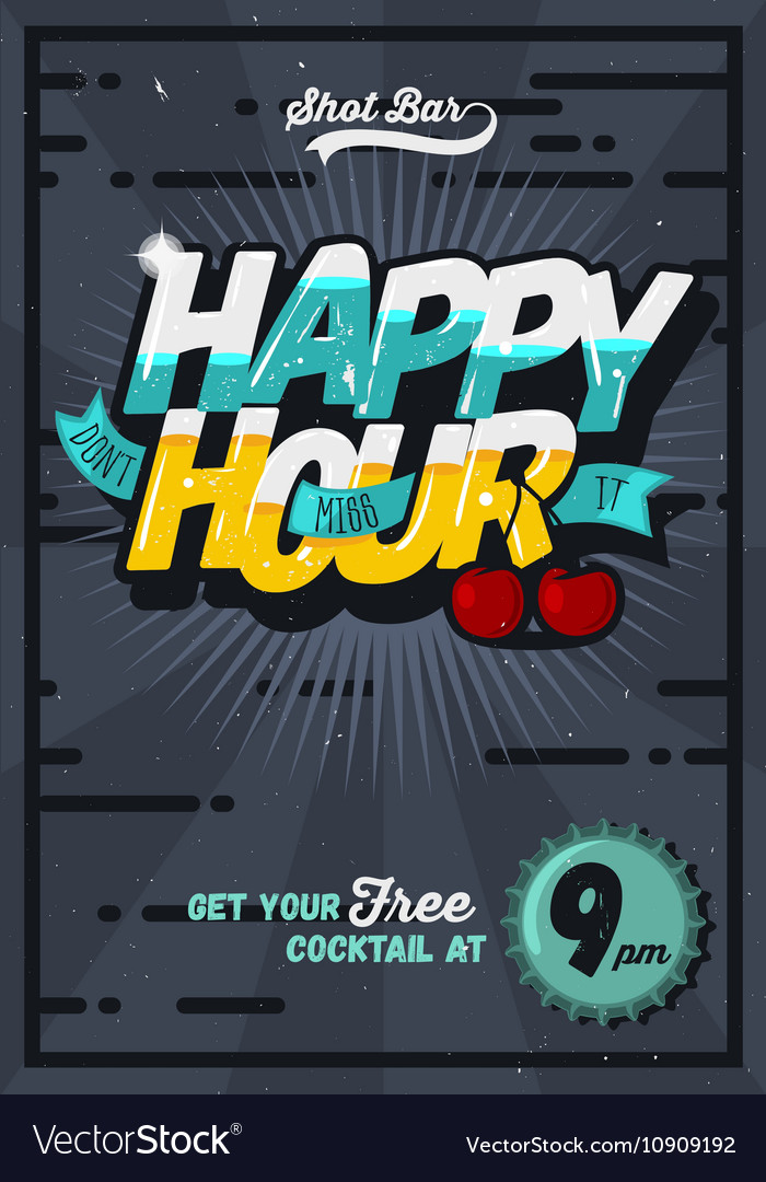 Happy Hour Concept Poster Template For Advertising