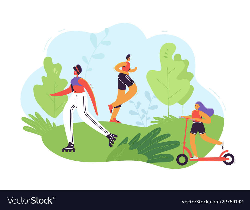 Healthy lifestyle concept active people exercising