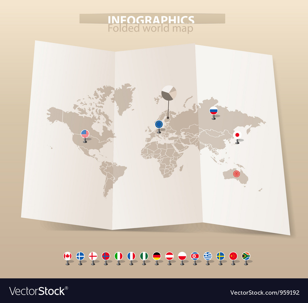 Map and flags of different countries vector image