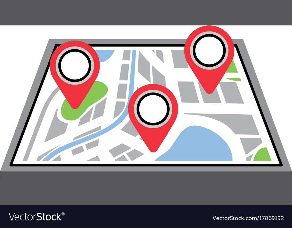 Navigation gps device and city map with pins