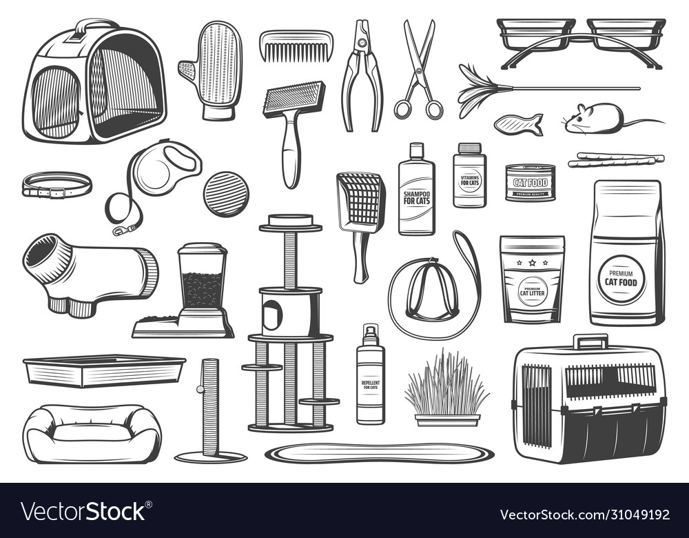 Pet care supplies for cats isolated icons