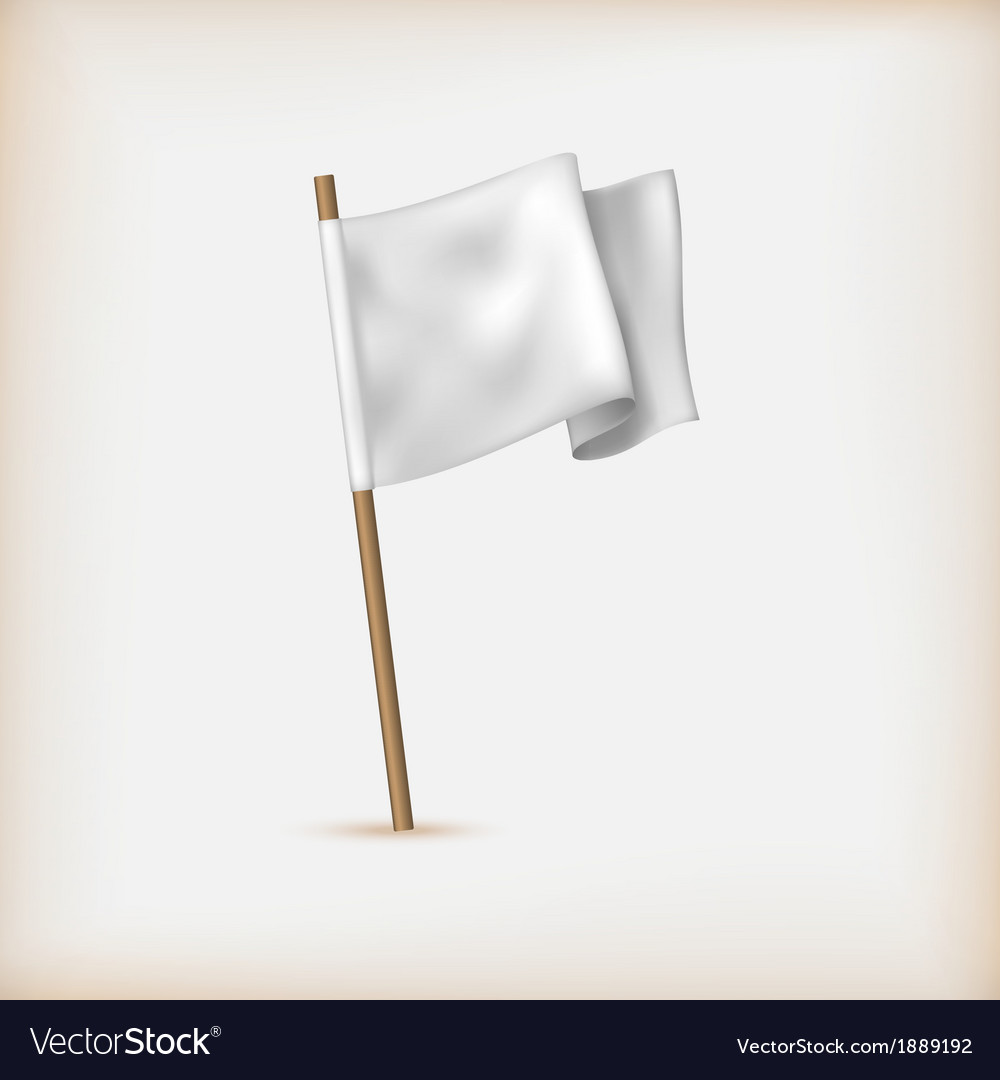 Realistic White Flag Icon Surrender Concept Banner
