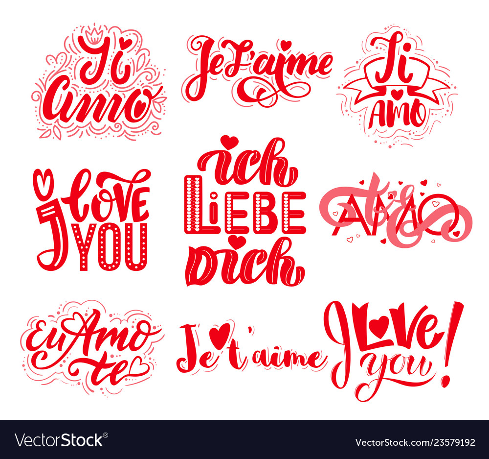 Set of valentines day i love you in different