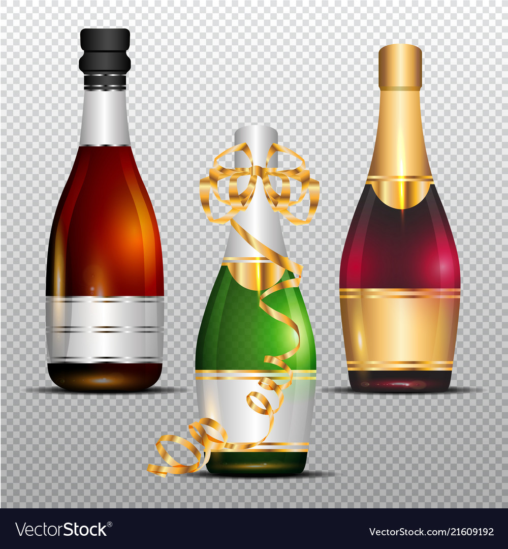 Three bottles of champagne with gold curly ribbon