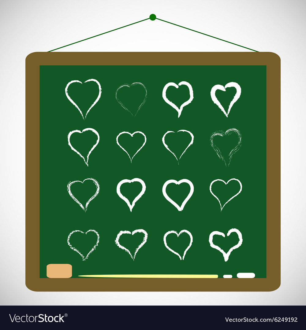 With hand draw hearts set vector image
