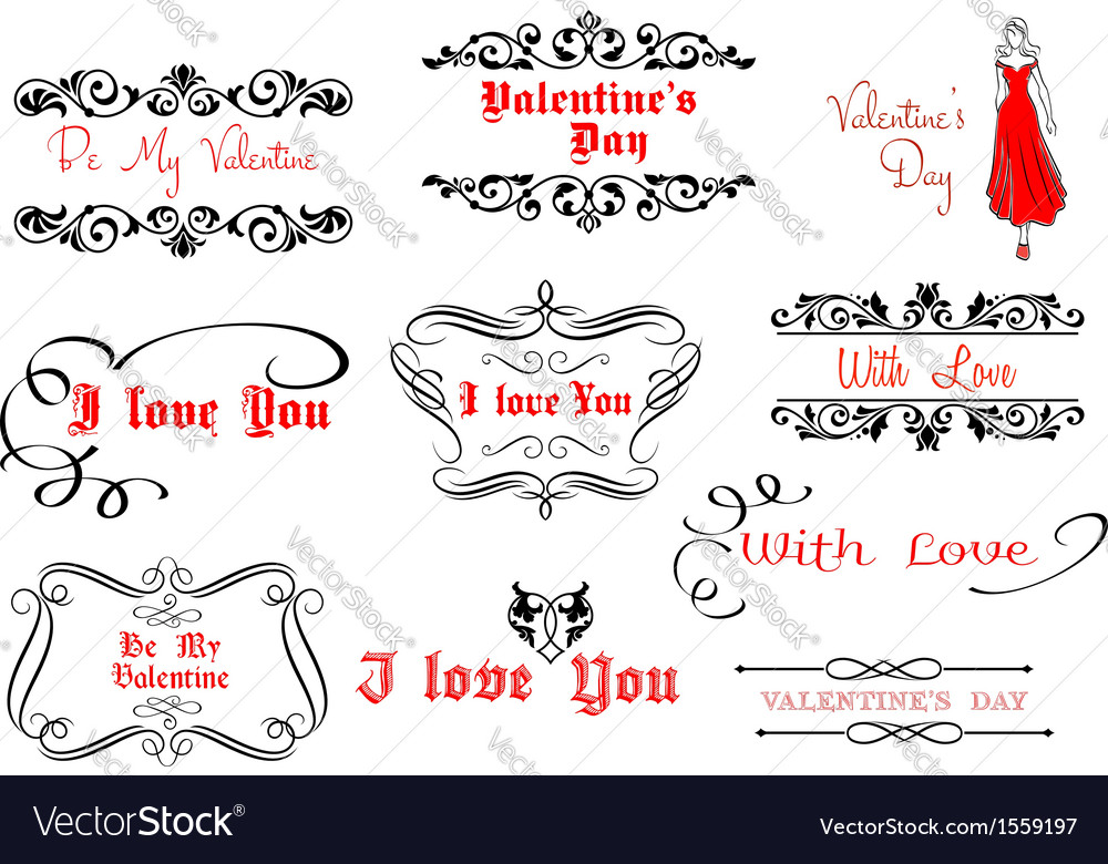 Calligraphic elements for Valentines Day design vector image