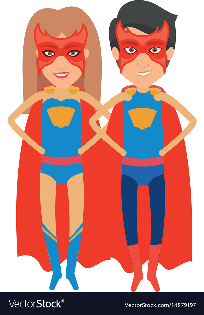colorful silhouette with couple of superheroes vector image