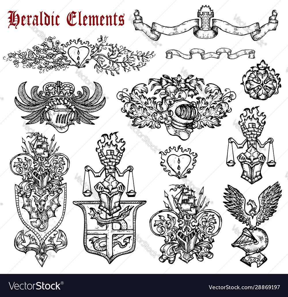 Design set with heraldic elements isolated