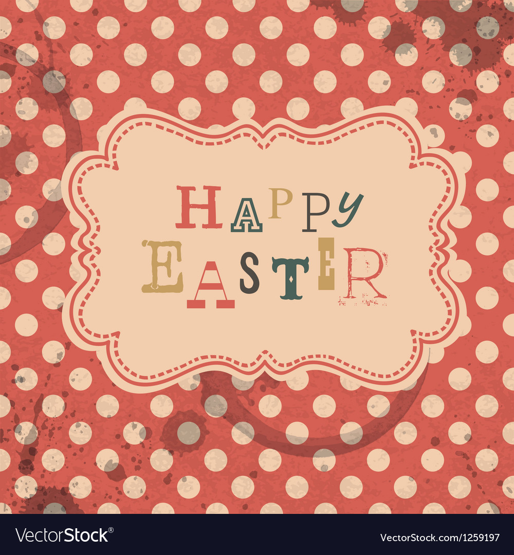 Happy easter retro greeting card