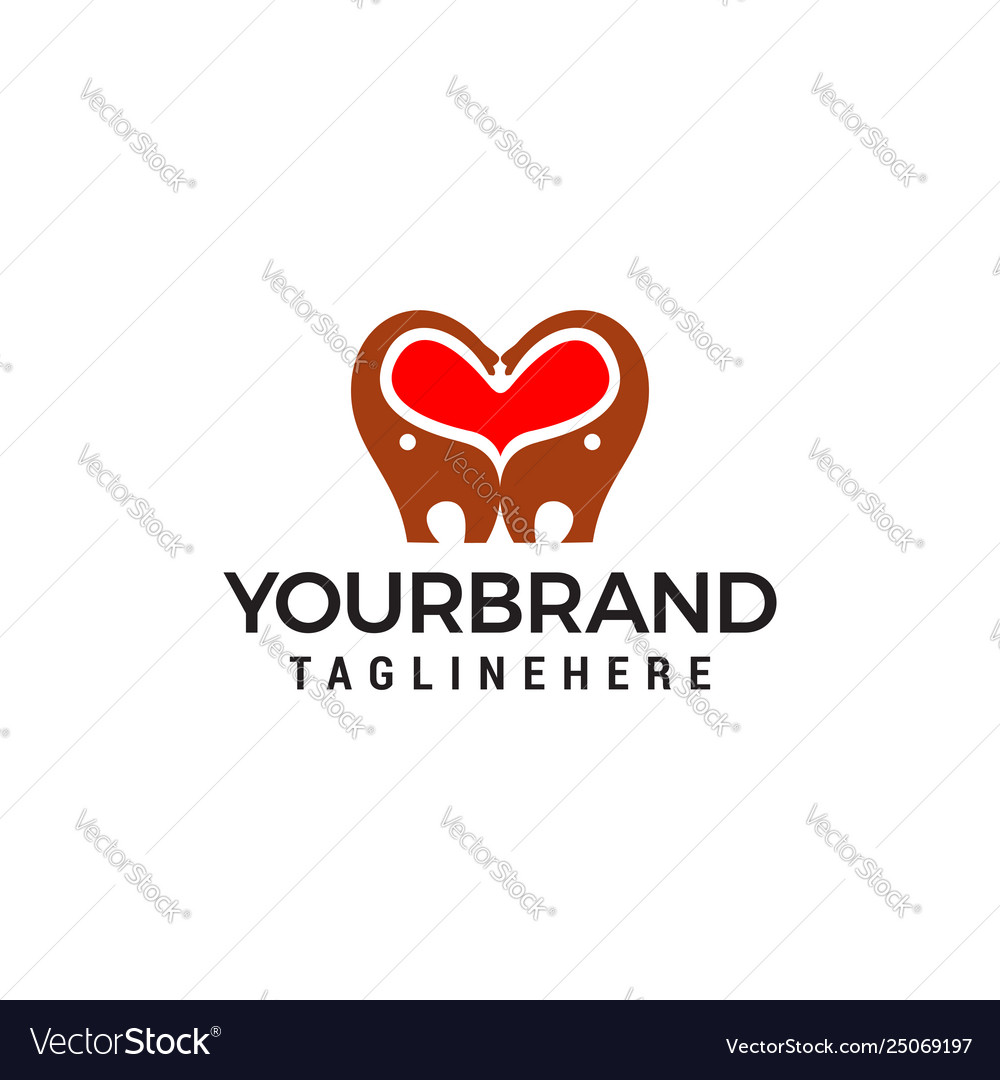 Heart love elephant logo design concept template