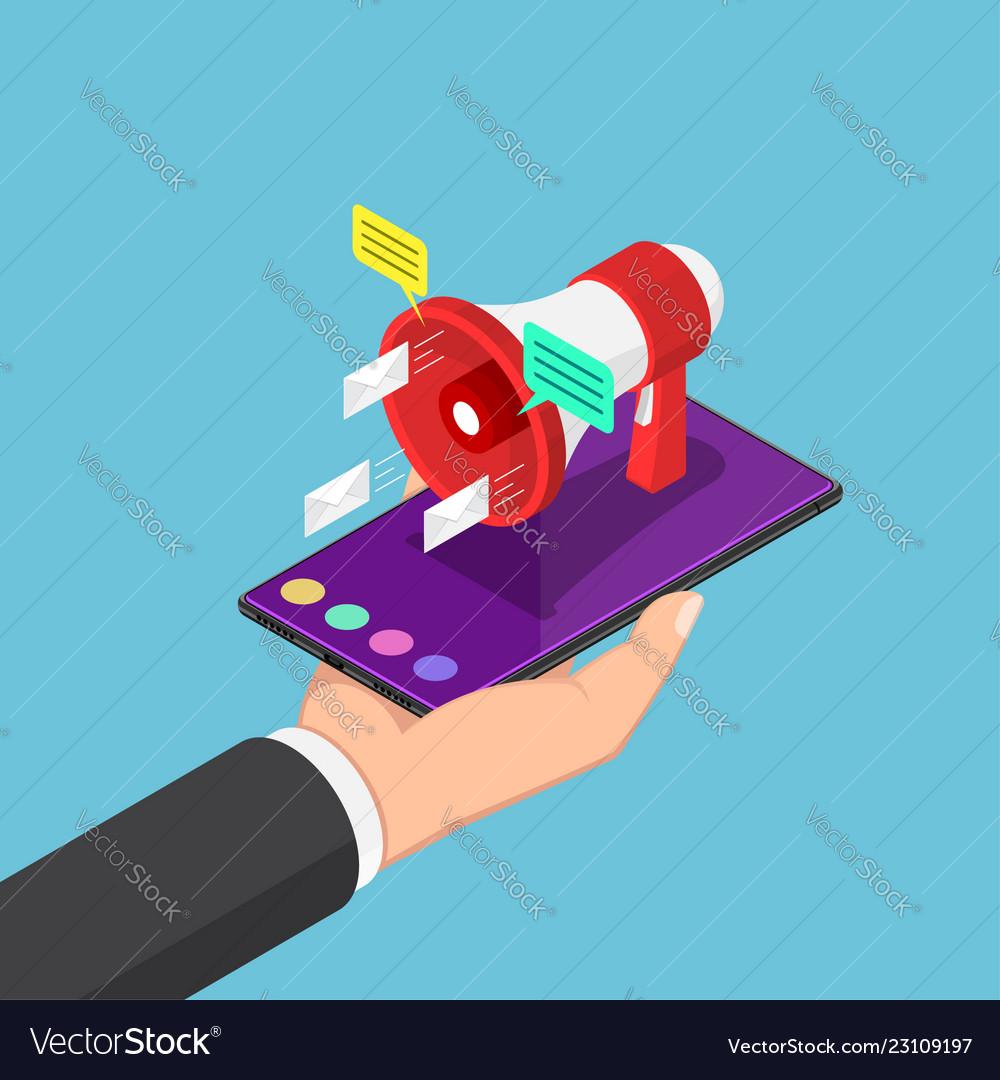Isometric businessman holding smartphone