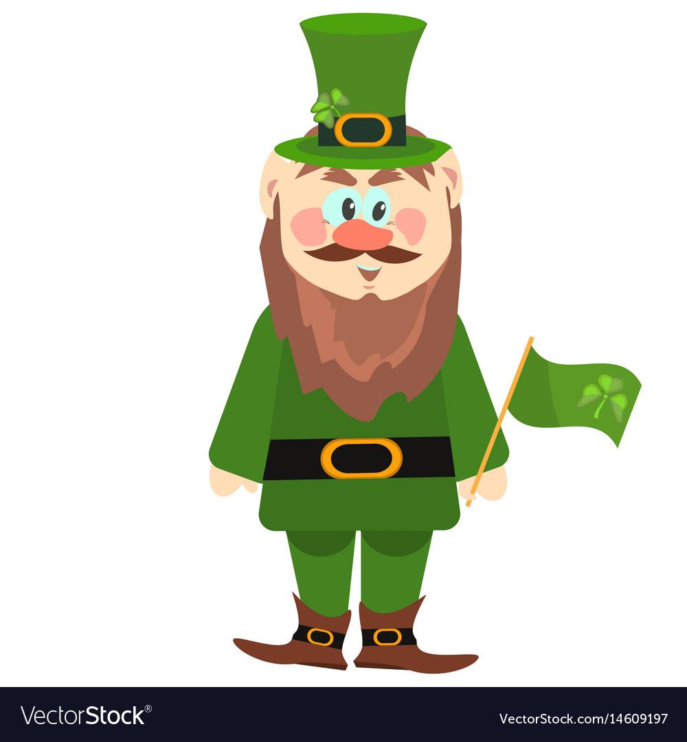 Leprechaun presenting holiday little green man vector image