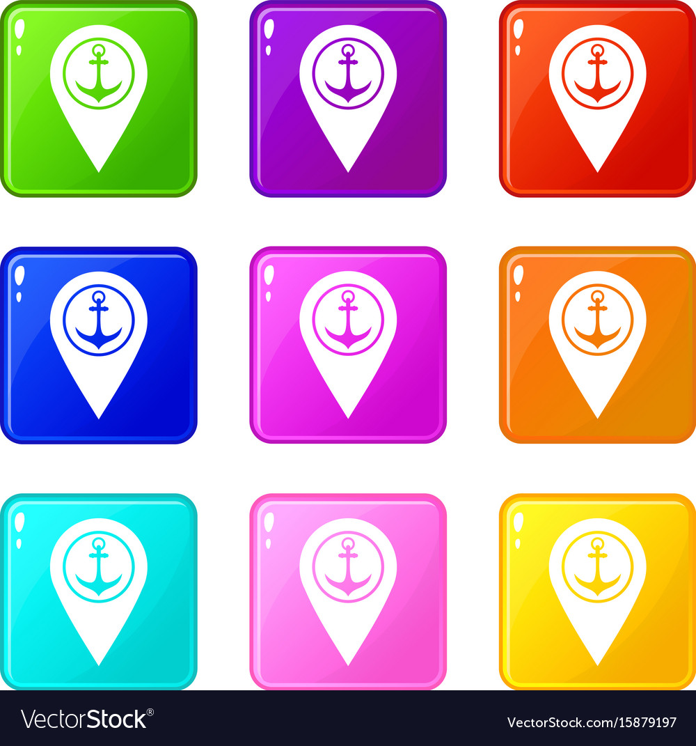 Map pointer with symbol anchor and sea port 9 set