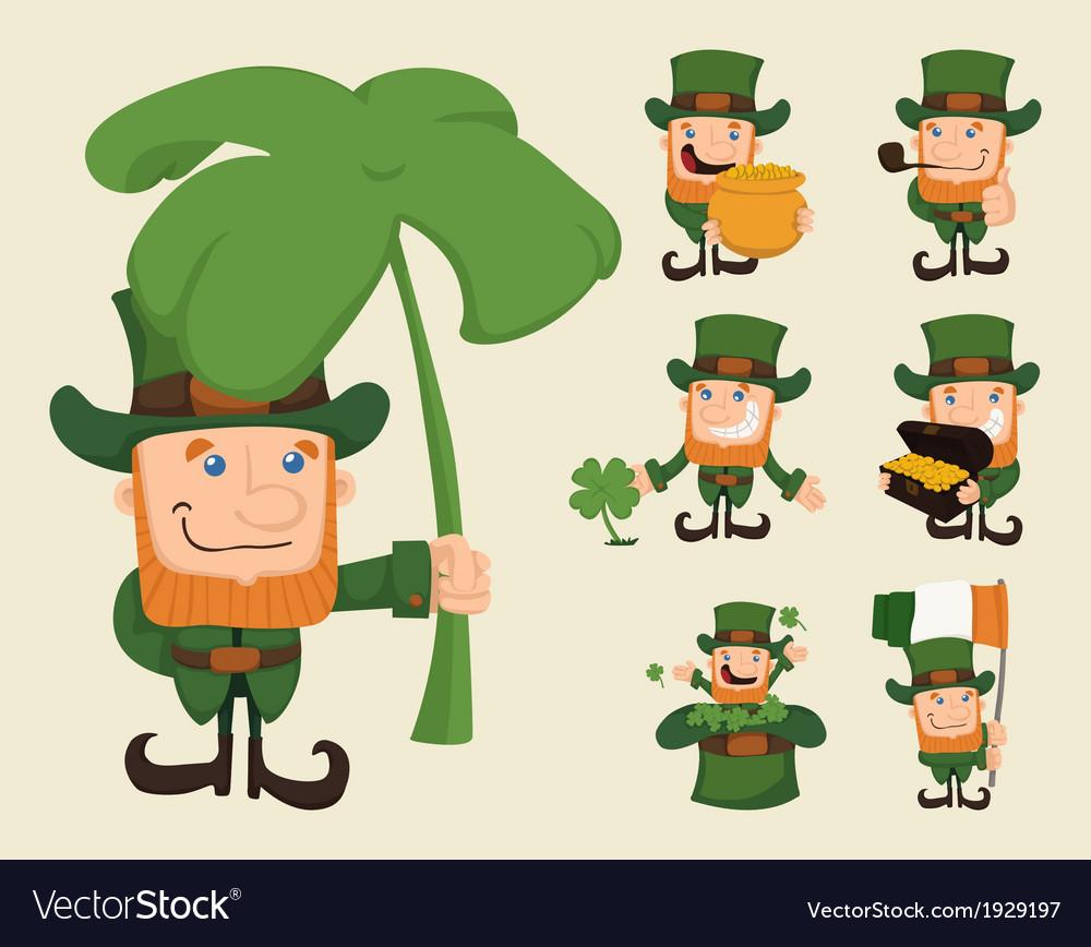 Set of leprechaun characters poses