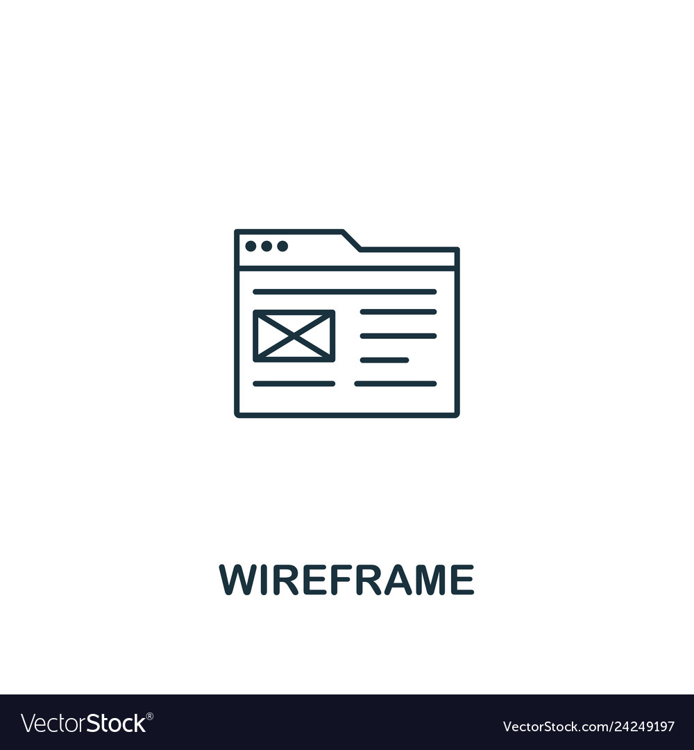 Wireframe icon thin outline style design from