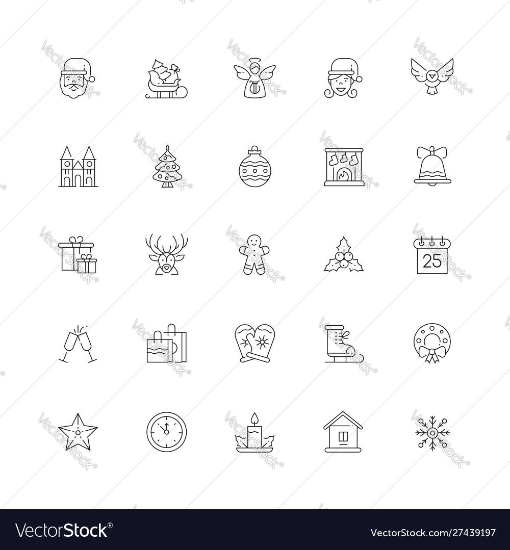 Xmas symbols line design style icons set