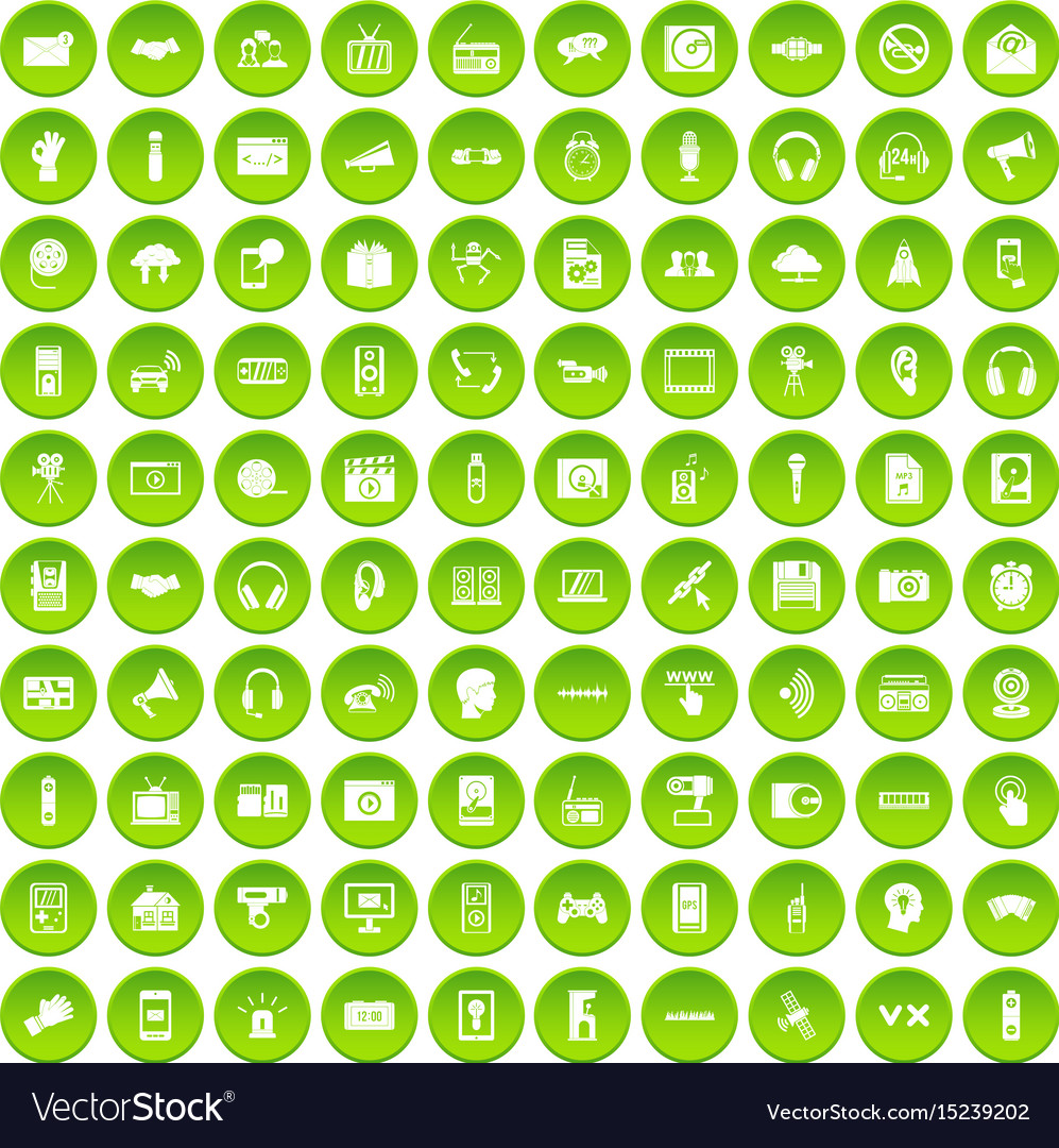 100 audio icons set green circle