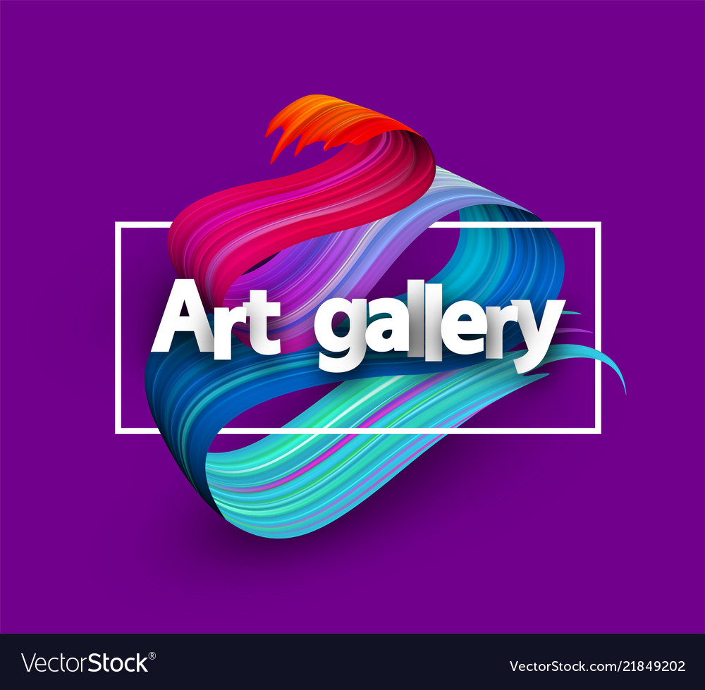 Art gallery poster with colorful brush stroke