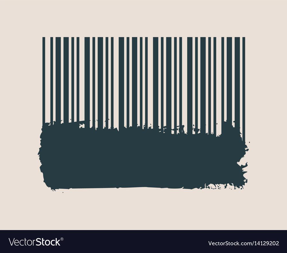 Barcode on grunge brushstroke