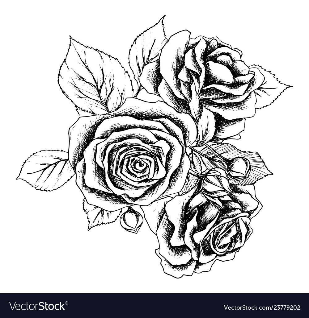 Beautiful monochrome black and white bouquet rose