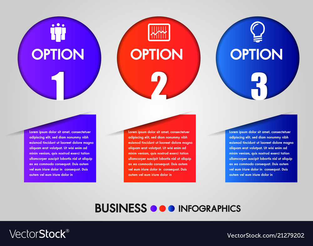 Business infographics circle 3 steps