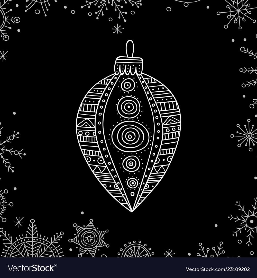 Christmas tree decoration bauble line art