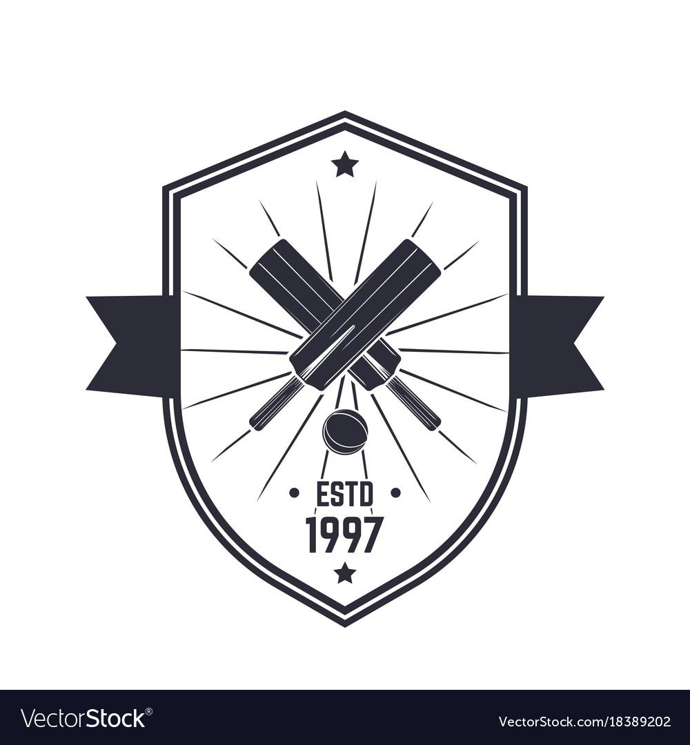 Cricket vintage logo emblem on white vector image