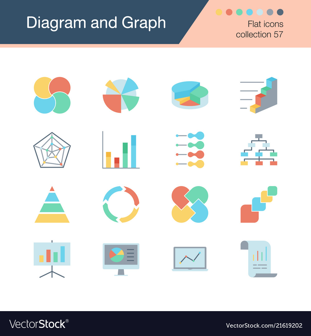 Diagram and graph icons flat design collection 57