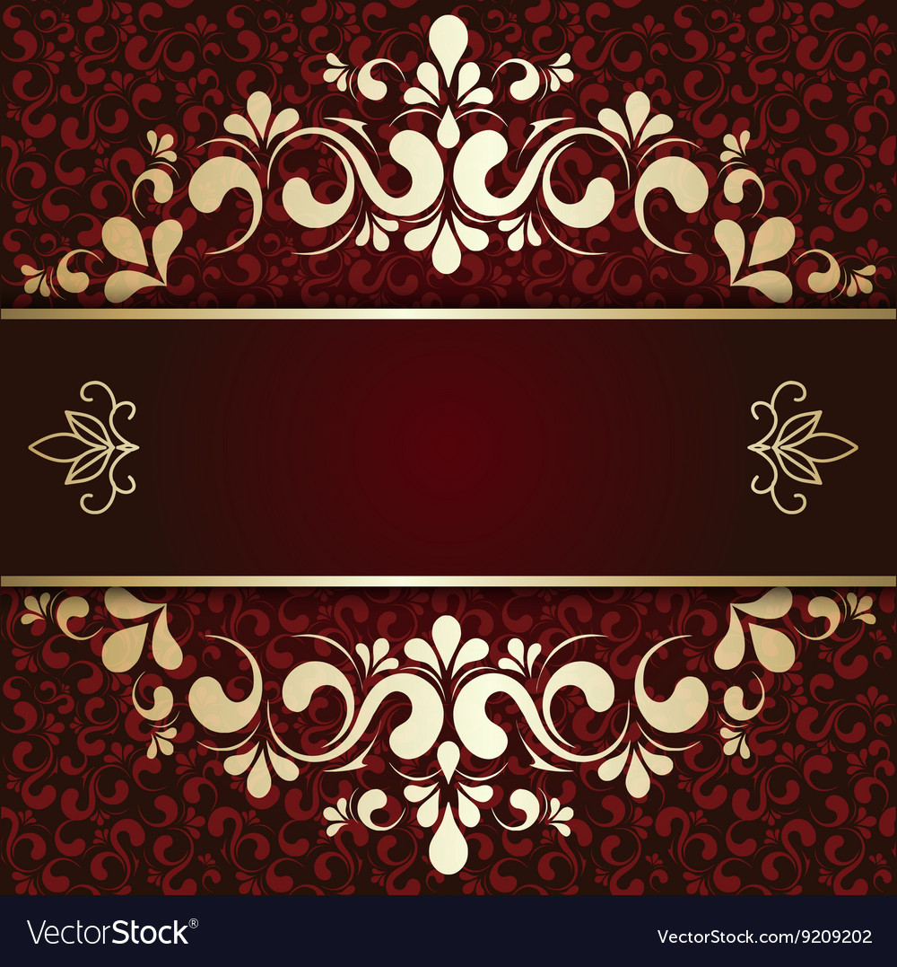 Gold ornament on a burgundy background card