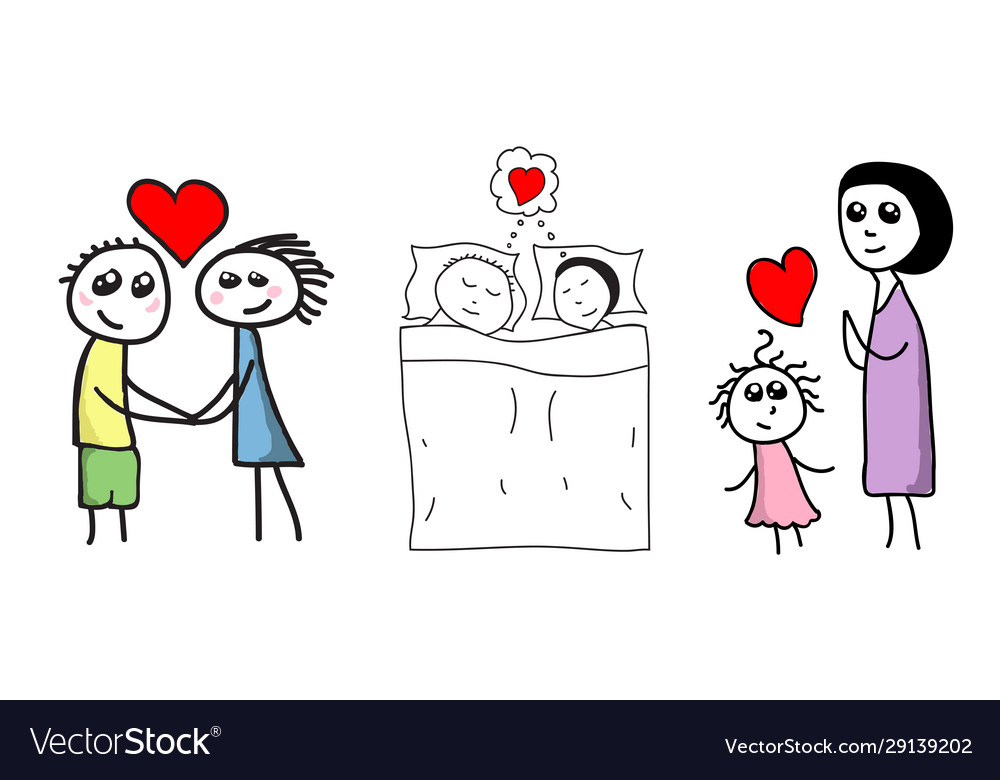 Hand drawn story family in love