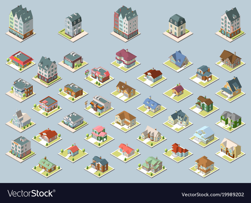 Isometric buildings set isolated on blue