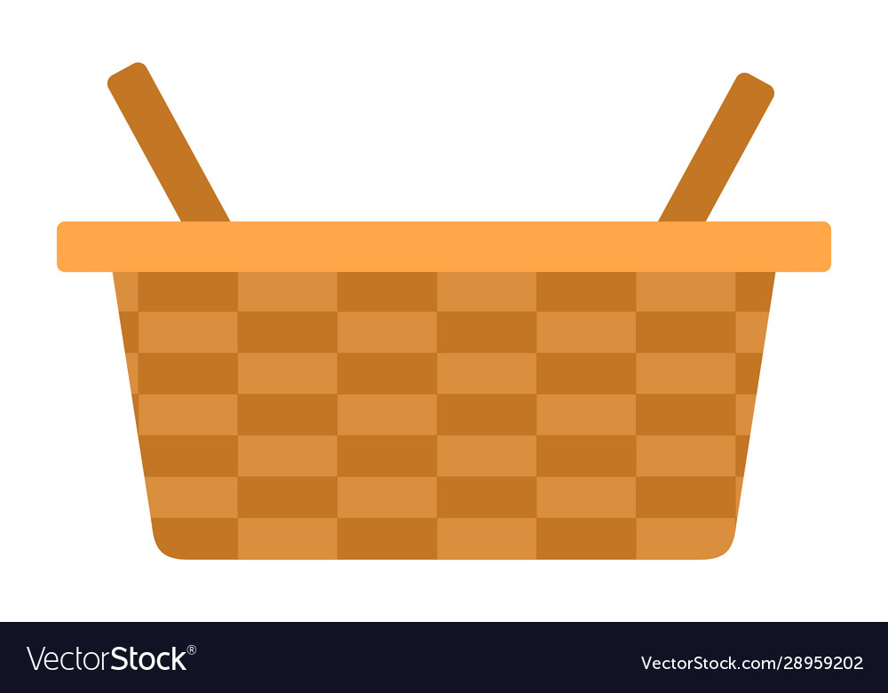 Picnic basket icon flat isolated