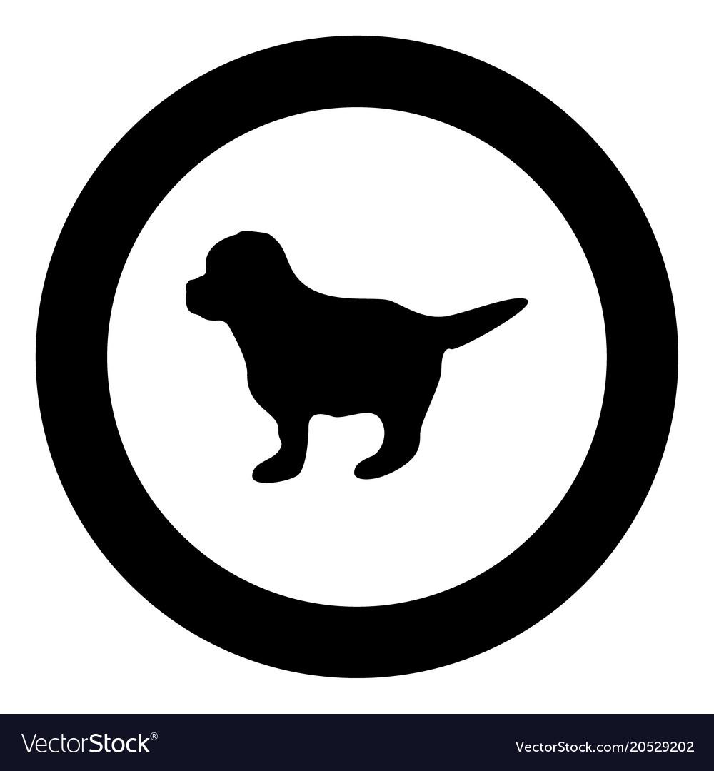 Puppy icon black color in circle