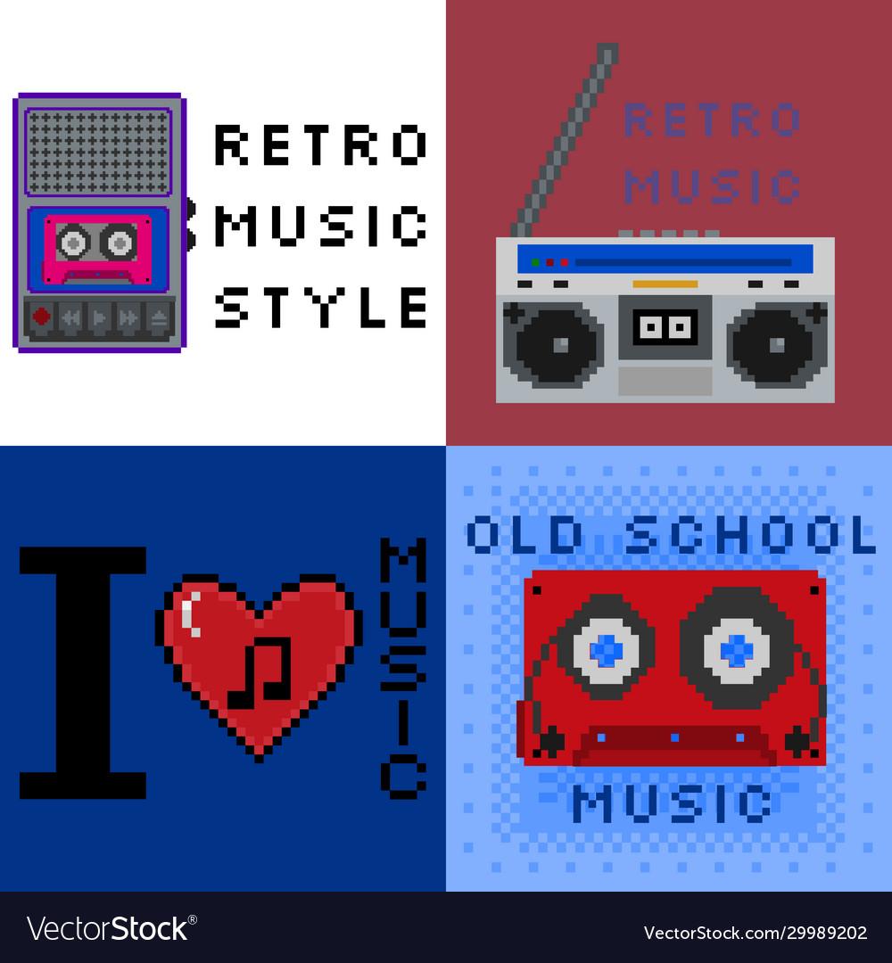 Set 8bit pixel art retro music style signs