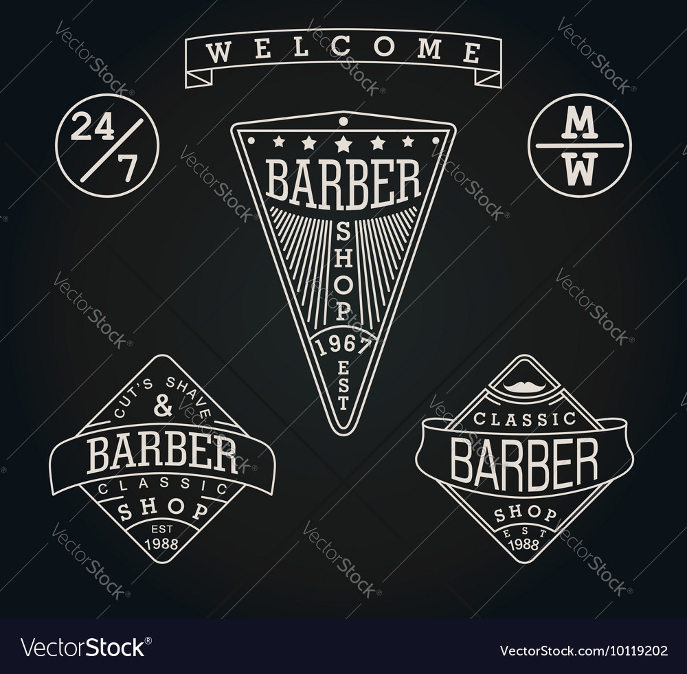 Set of three retro emblems for Barber Shop