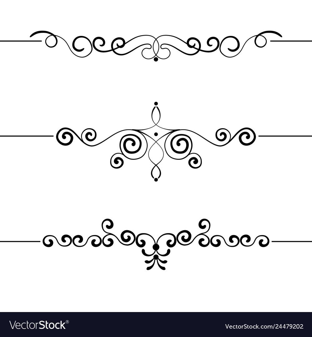 Set of vintage decorative curls swirls monograms