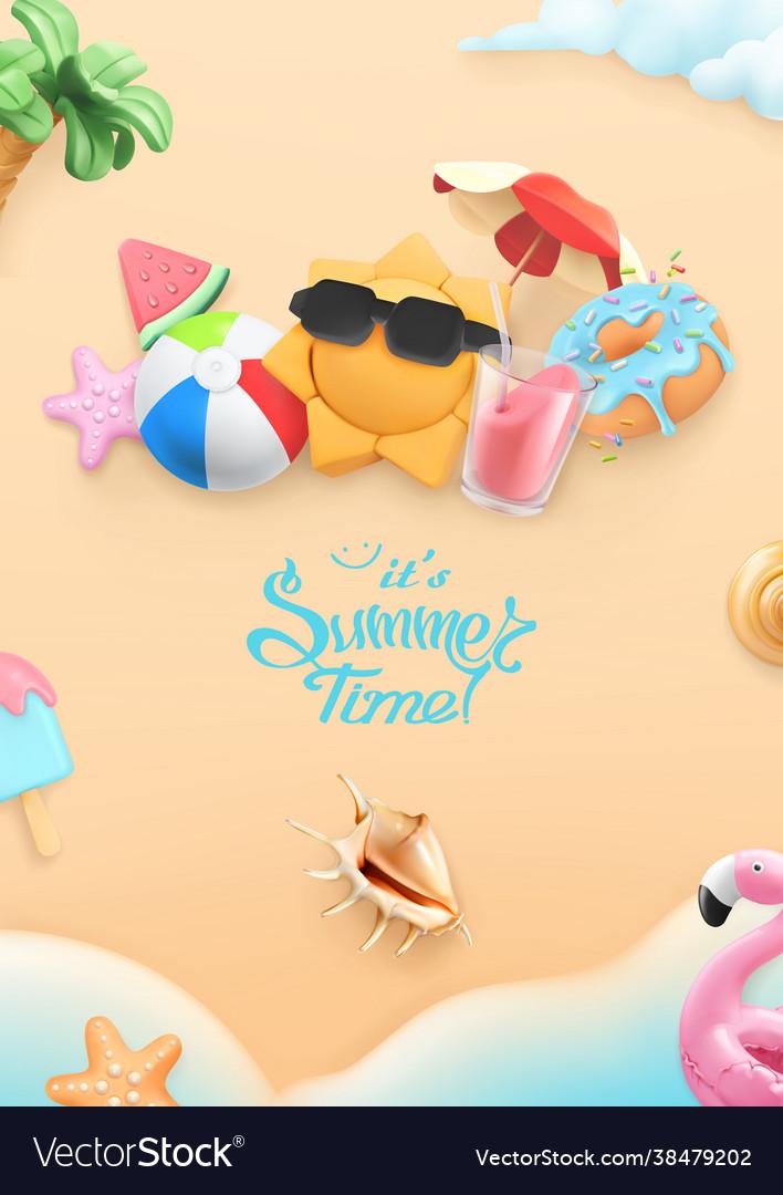 Summer time background 3d realistic beach sun