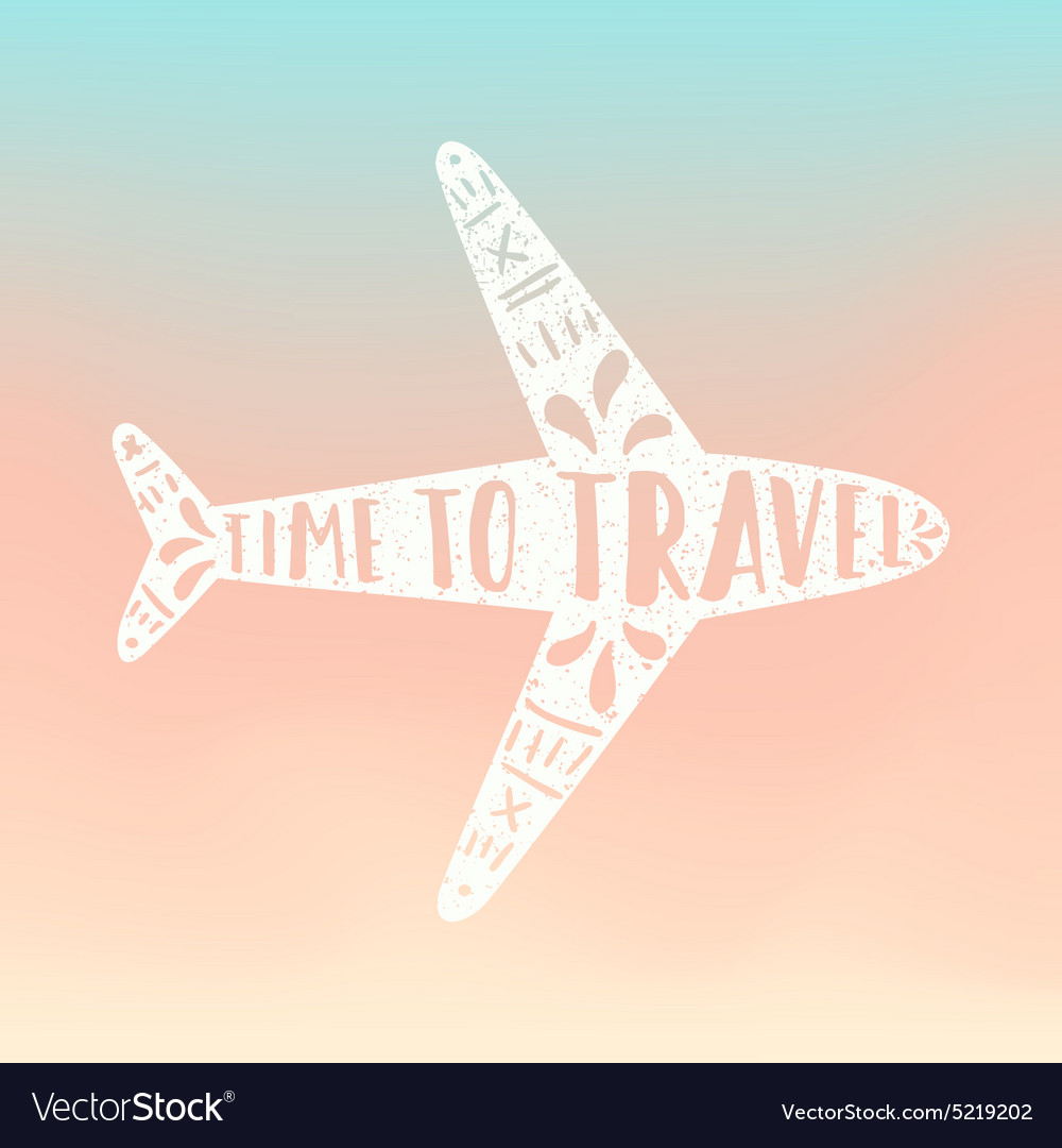 Time to travel Plane silhouette