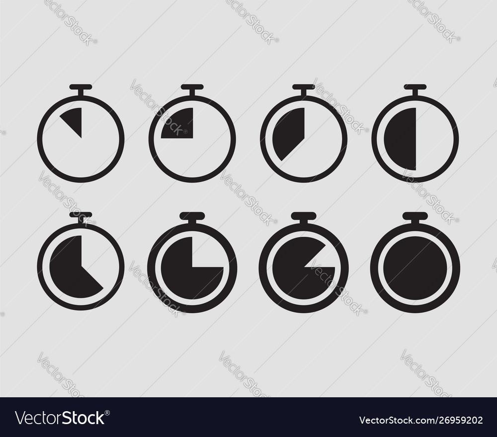 Timer stopwatch icons set clock silhouette